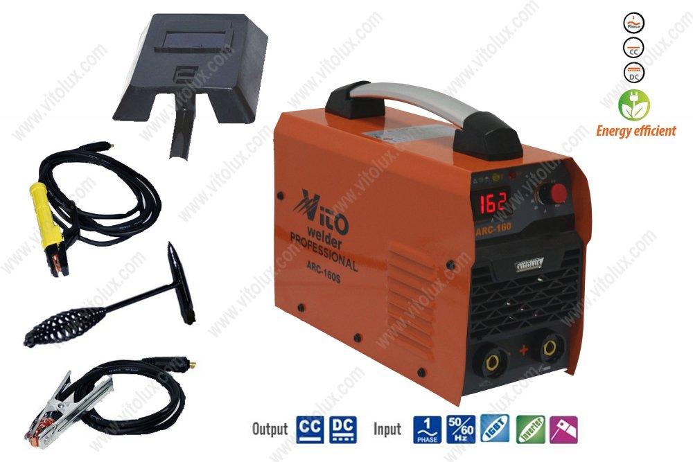 Купувам VITO-ARC160S Инверторни IGBT Eлектрожени + Дисплей - 220лв.- с ръкохватка за електроди с дължина 4,5 метра