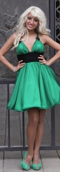 Купувам Сатенена рокля - цвят зелен