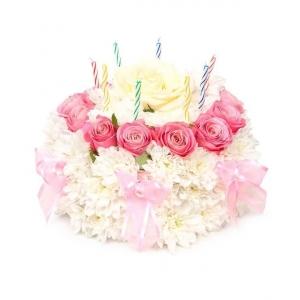 Купувам Аранжировка от рози и хризантеми във формата на торта