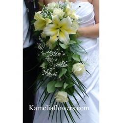 Купувам Сватбен букет от лилиум, еквадорска роза