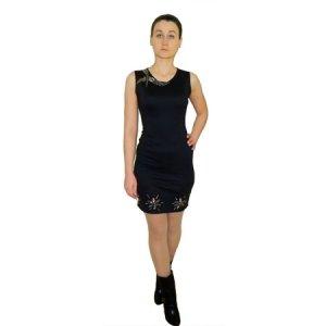 Купувам Черна къса рокля със златисти елементи