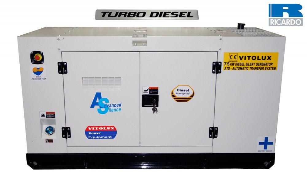 Купувам 75 KW Шумозаглушени Трифазни TURBO Дизелови Генератори VITOLUX с водно охлаждане и пълна автоматика