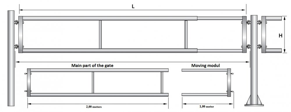 Купувам Телескопична врата за животновъдни ферми - T2-2/3M