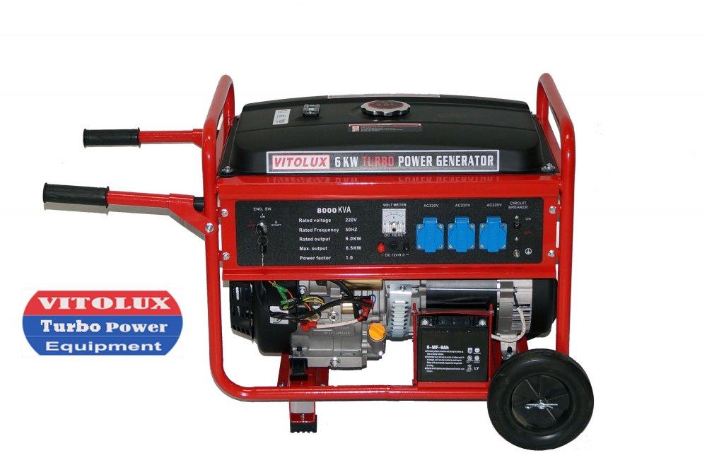 Купувам 6,5 KW НОВИ Монофазни Генератори VITOLUX TURBO POWER с елeктрически стартер