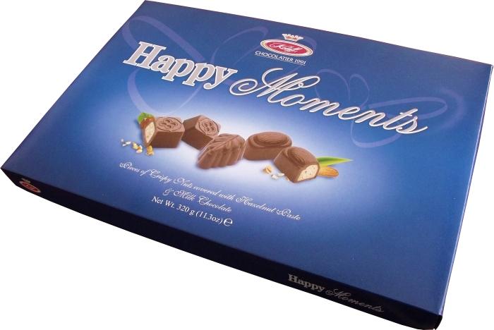 Купувам Бонбони от фин млечен шоколад с дробени ядки Happy Moments