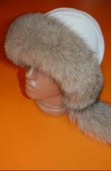 Шапка от лисица и агнешка напа