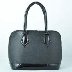 Дамска чанта 891 черна кожа + черен лак.