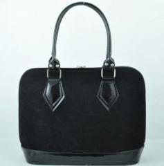 Дамска чанта 891 черен велур + черен лак.
