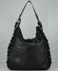 Дамска чанта 912 черна кожа + сива кожа.