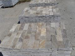Facing goods made of natural stone