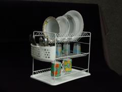 Сушилник за чинии на три нива с пластмасов кош или
