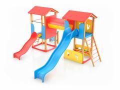Комбинирано детско съоръжение с тунел и 2 пързалки