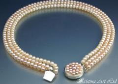 Триредово колие от eстествени розови перли*Афродита*