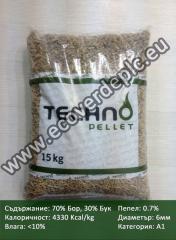 Дървени Пелети 345 ЛЕВА/ТОН, 70% Бор 30% Бук, 4330 Кcal/kg, Категория: А1