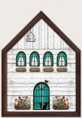 Пано за ключове Къща в кафяво