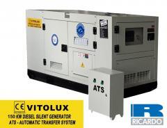 150 KW Шумозаглушени Трифазни TURBO Дизелови Генератори VITOLUX с водно охлаждане и пълна автоматика