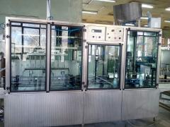 Автоматични линейна машина за бутилиране на хранителни течности/айрян, мляко, оцет, боза, вино, алкохолни течности и др./