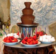 Шоколадов фонтан под наем от НОВА Кетъринг за стилното Ви събитие! Ефектно аранжиран с плодове, маршмелоу и кексчета  http://www.novva.bg