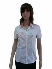Дамска бяла риза с оранжеви гарнитури