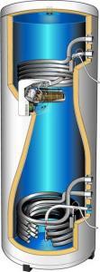 Бойлер за соларни системи с две серпентини