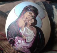 Рисувано яйце Девата с младенеца