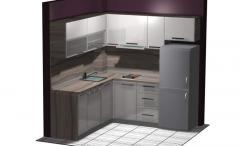 Ъглова кухня от пдч с корпус в дървесен десен и