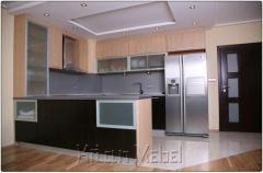 Кухня в декори дъб ферара тъмен и дъб ферара