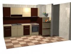 Кухня в кафяво и бежово
