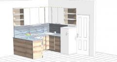 Кухня в бяло и дървесен цвят