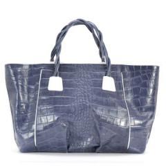Чанта дамска кожена синя
