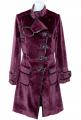 Дълго дамско палто бордо от конски косъм 10121111
