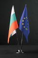 Двойна настолна никелова стойка с флагчета - РБ и ЕО